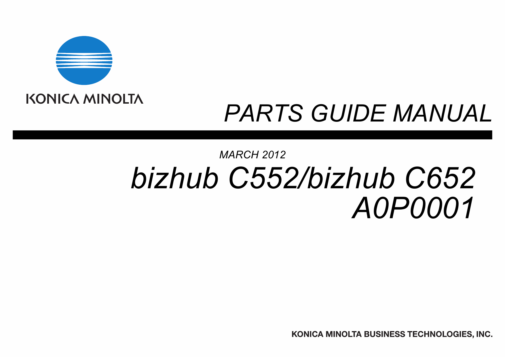 Konica-Minolta bizhub C652 C552 Parts Manual
